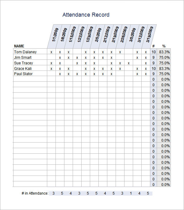 attendance record sheet template