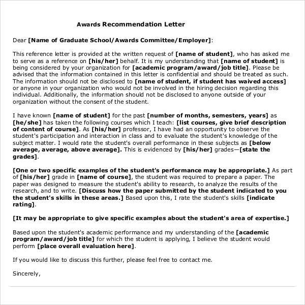 38 sample letters of recommendation for graduate school sample award reference letter spiritdancerdesigns Image collections