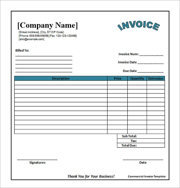 blank commercial invoice template .