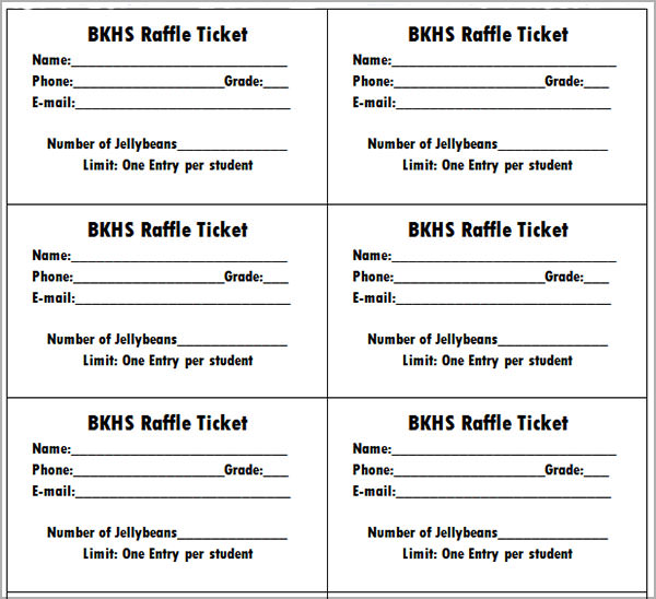 7 raffle ticket templates sample templates for Template for raffle tickets to print