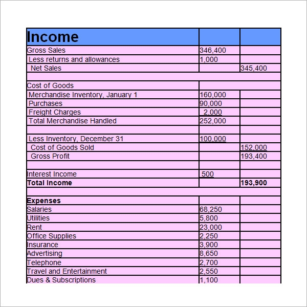 Sample Income Statement Template 9 Free Documents In PDF Word Excel