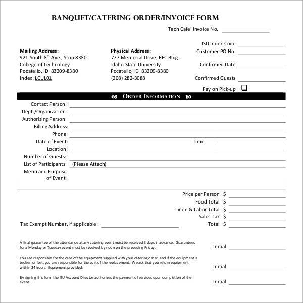 banquet catering invoice