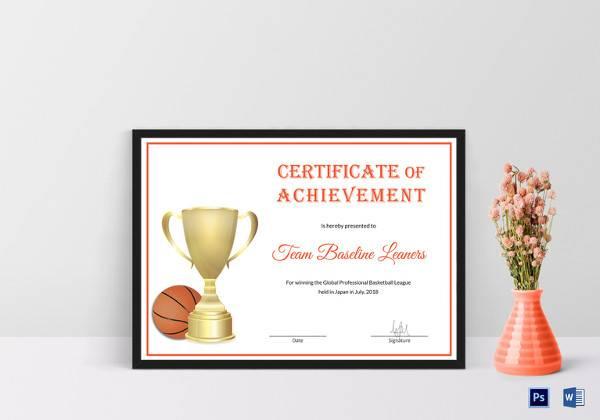 basketball achievement certificate template