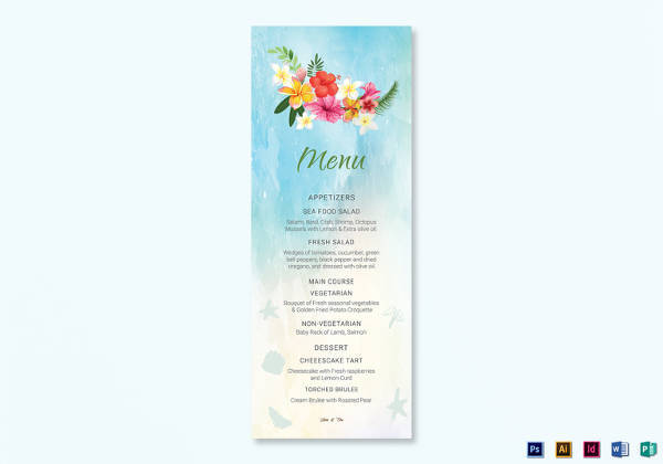 beach wedding menu card design template