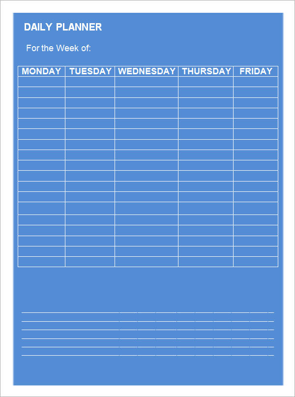 free 9  free printable daily planner templates in google