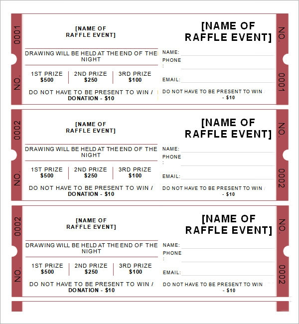 sample raffle tickets template
