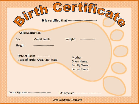 Sample birth certificate 11 free documents in word pdf for Build a bear birth certificate template