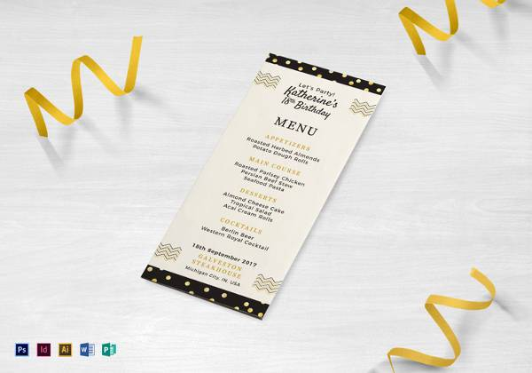 birthday dinner party menu template