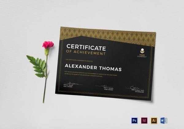 black achievement certificate template in word