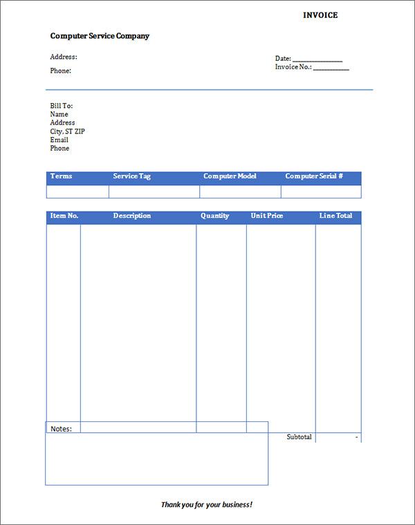 printable blank invoice template .