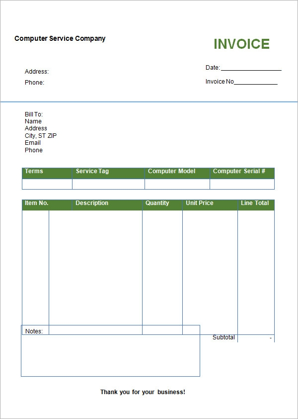 Blank Invoice Template 30 Documents in Word Excel PDF – Sample of Invoice Bill