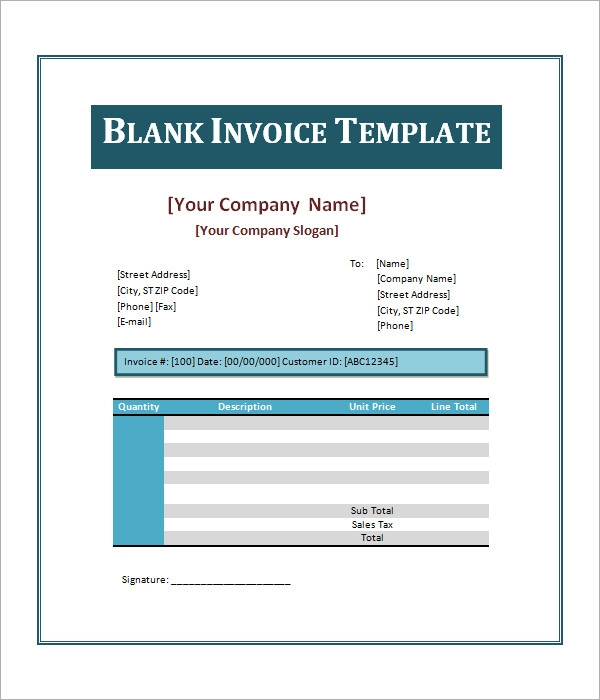 free blank invoice template word .
