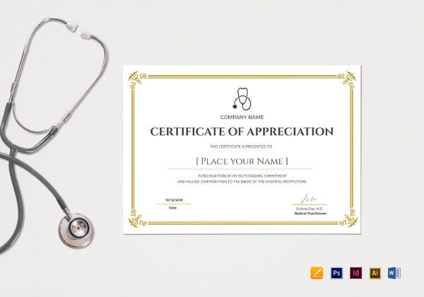 blank medical appreciation certificate