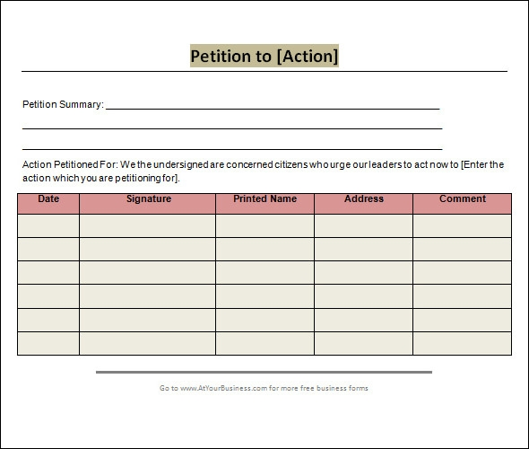 Petition Template  Download Free Documents In Pdf Word