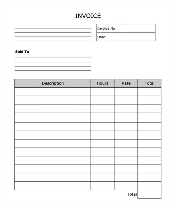 printable blank invoice template  free blank service invoice template