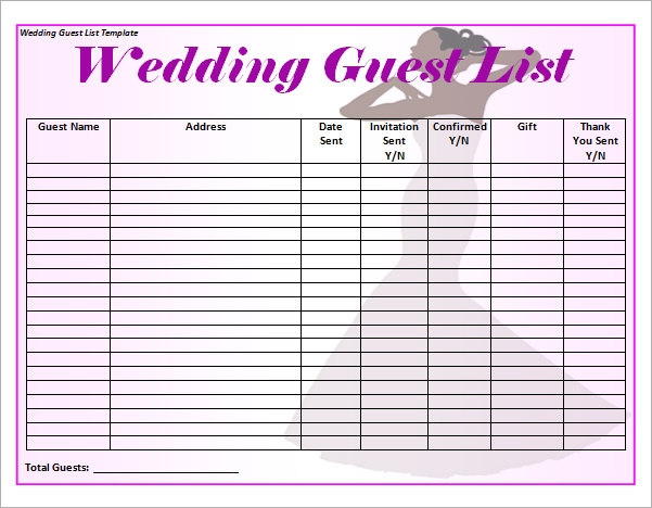 wedding guest list template printable 16  Wedding Guest List Templates – PDF, Word, Excel | Sample Templates