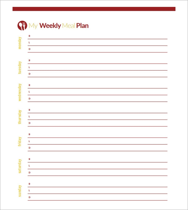 Blank Menu Template Blank WeeklyMenuPlanTemplate Sample Meal