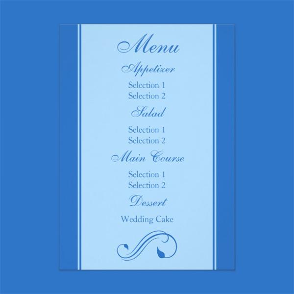 blue floral curls wedding reception dinner menu