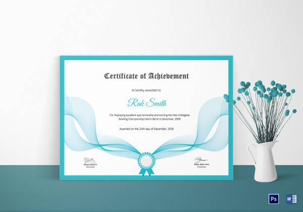 bowling achievement certificate template