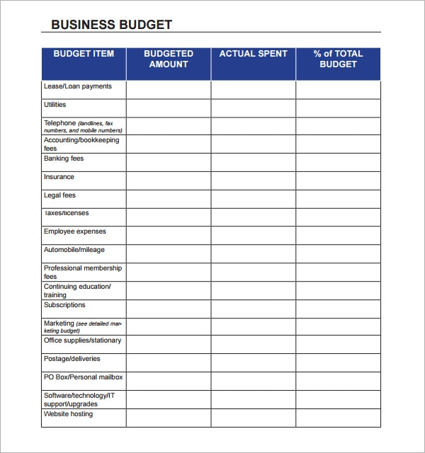 Expenses worksheet for a business