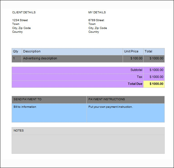 Word Invoice Sample   Documents In Word