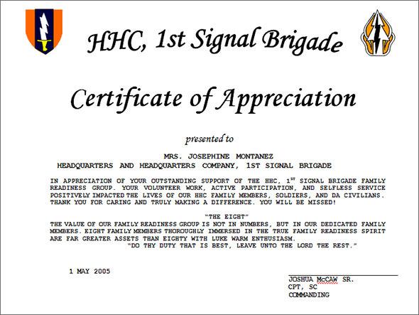 Sample wording certificates appreciation templates yadclub Gallery