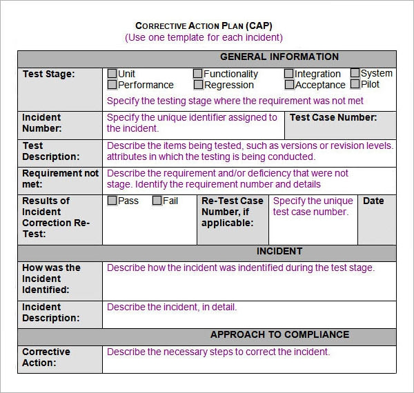 Sample Action Plan Template 9 Free Documents in PDF Word Excel – Corrective Action Plan