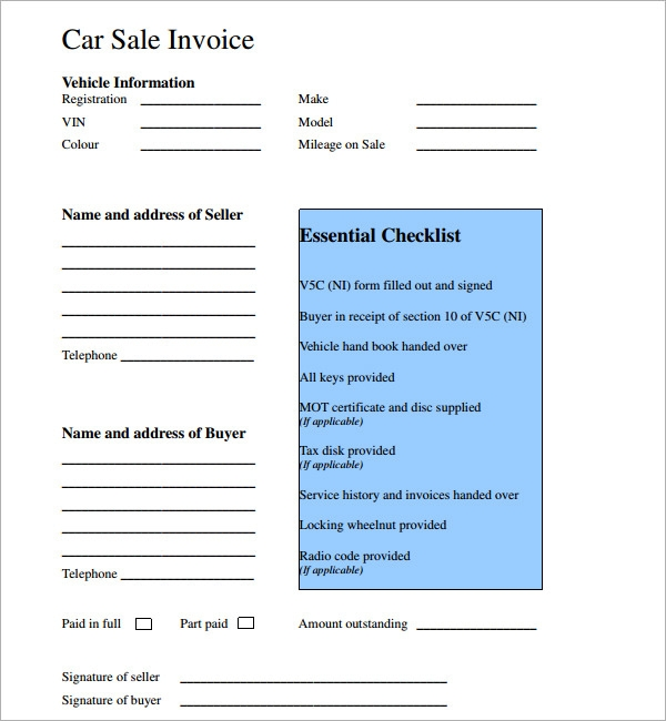 Download Car Sale Invoice Template | Rabitah.Net