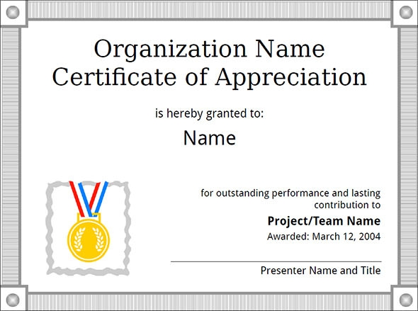 Examples Of Certificate Of Appreciation - Hlwhy