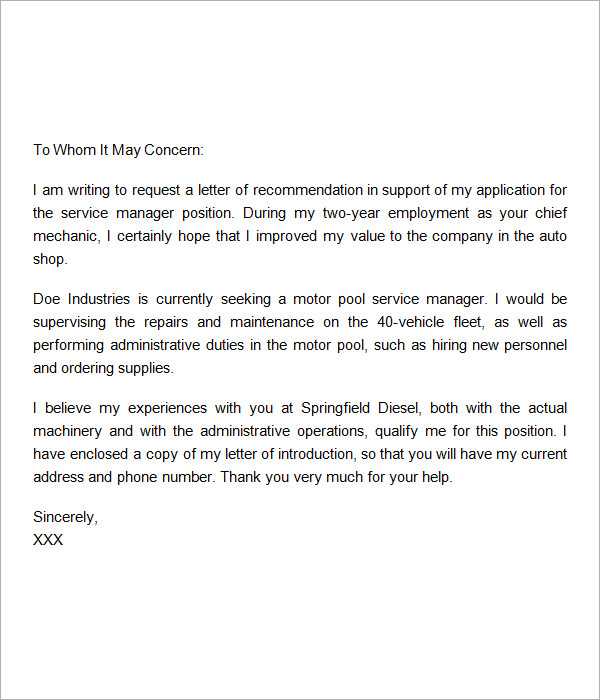 Sample Recommendation Letter   Free Documents In Word