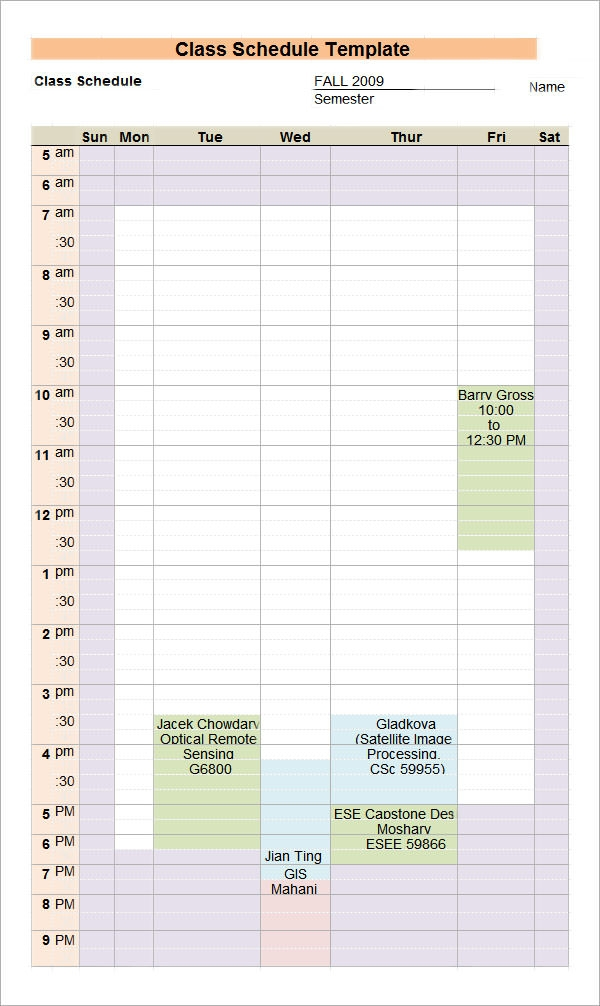7 sample class schedules sample templates