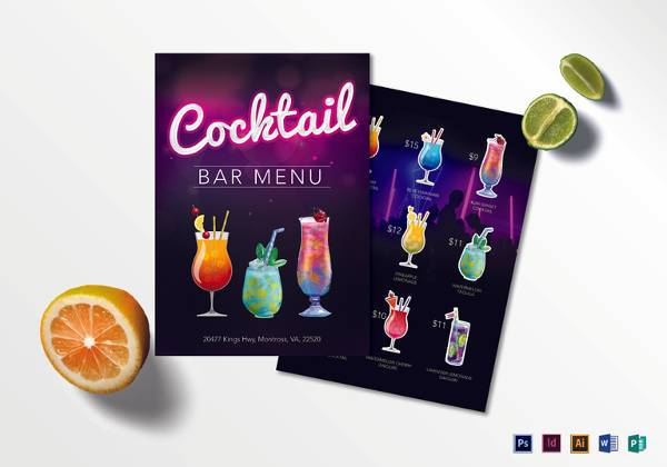 cocktail bar menu template in psd format