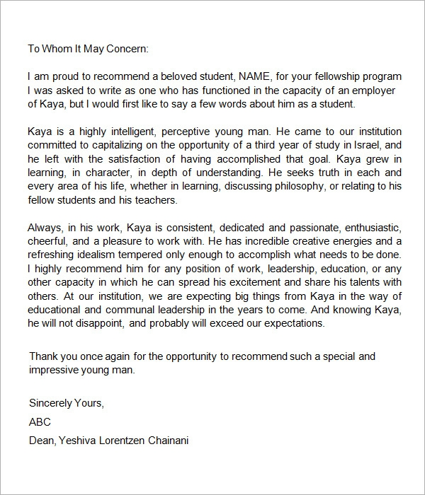 College graduate recommendation letter – Letter of Recommendation Template Word
