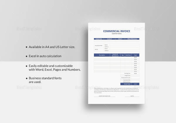 commercial invoice template in word format