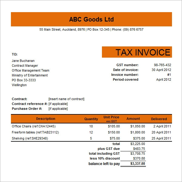 Commercial Tax Invoice Template Excel  Tax Invoice Template