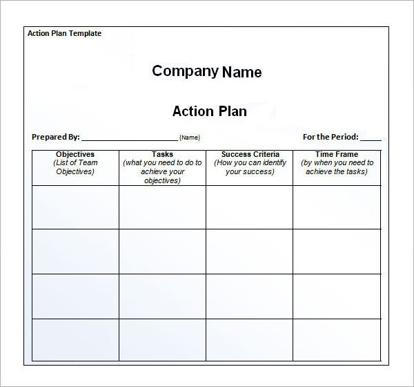 Action Plan Action Plan Action Plan Template In Word Sample Action
