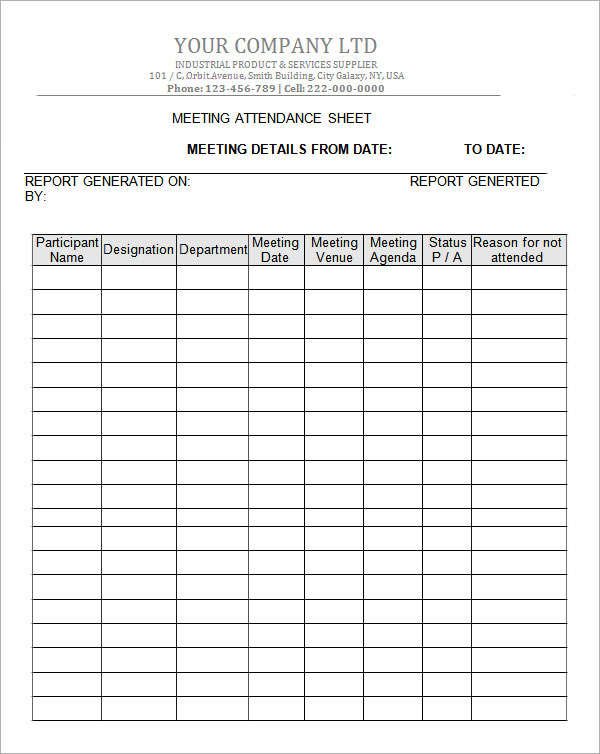 company meeting attendance sheet