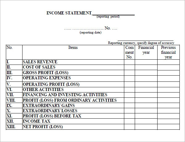 17+ Free Sample Income Statement Templates | Sample Templates