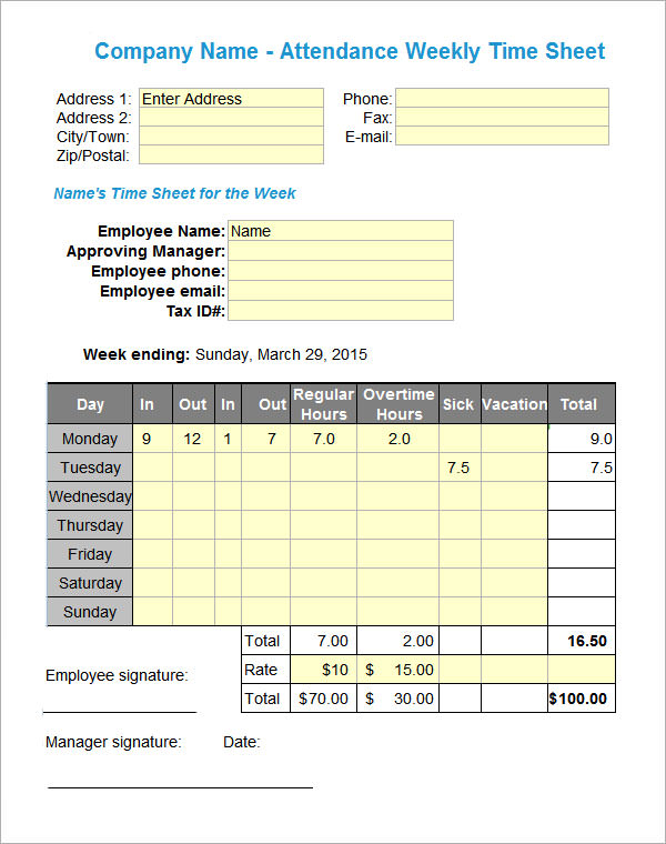 Attendance Sheet Templates 10 Download Free Documents in PDF – Attendance Sheet for Employees