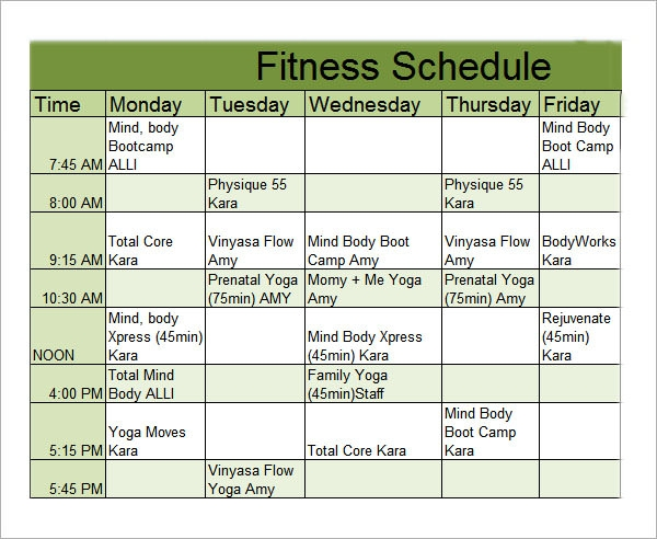 Sample Workout Schedule   Documents In Excel Pdf