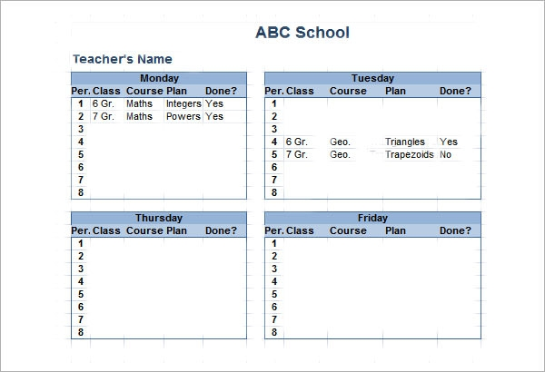Sample Class Schedule   Documents In Pdf Word Excel