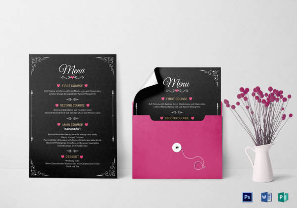 customizable wedding menu invitation psd template