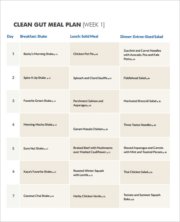 Diet Menu For A Week Template  Menu For The Week Template