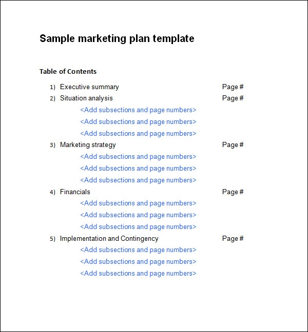 Free marketing plan template maxwellsz