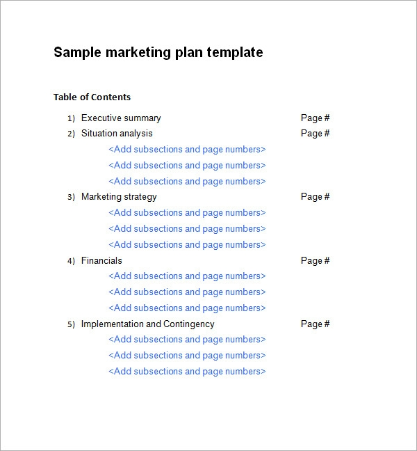 free marketing plan example pdf