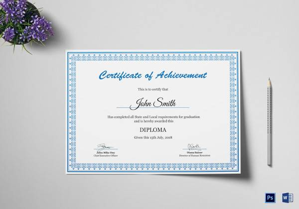 diploma achievement certificate template