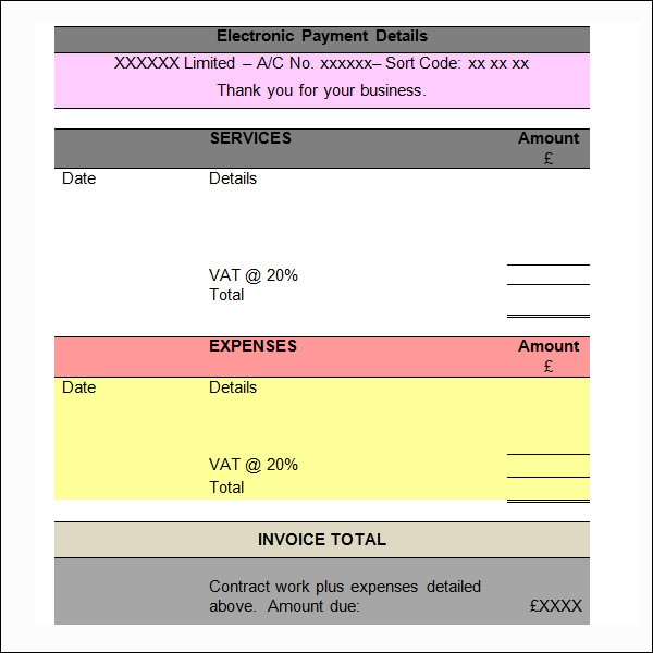 Word Invoice Sample 11 Documents in Word