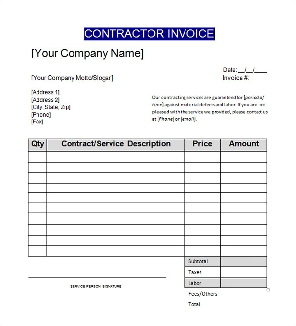 Hucareus  Winning Sample Contractor Invoice Templates   Free Documents In Word  With Lovely General Contractor Invoice Template With Alluring Professional Invoice Also Auto Repair Invoice Template In Addition Printable Invoice Template And Invoice Templete As Well As Create An Invoice Online Additionally View And Pay Invoice From Sampletemplatescom With Hucareus  Lovely Sample Contractor Invoice Templates   Free Documents In Word  With Alluring General Contractor Invoice Template And Winning Professional Invoice Also Auto Repair Invoice Template In Addition Printable Invoice Template From Sampletemplatescom
