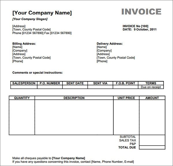 Blank Invoice Template 30 Documents in Word Excel PDF – Sample Invoice Template