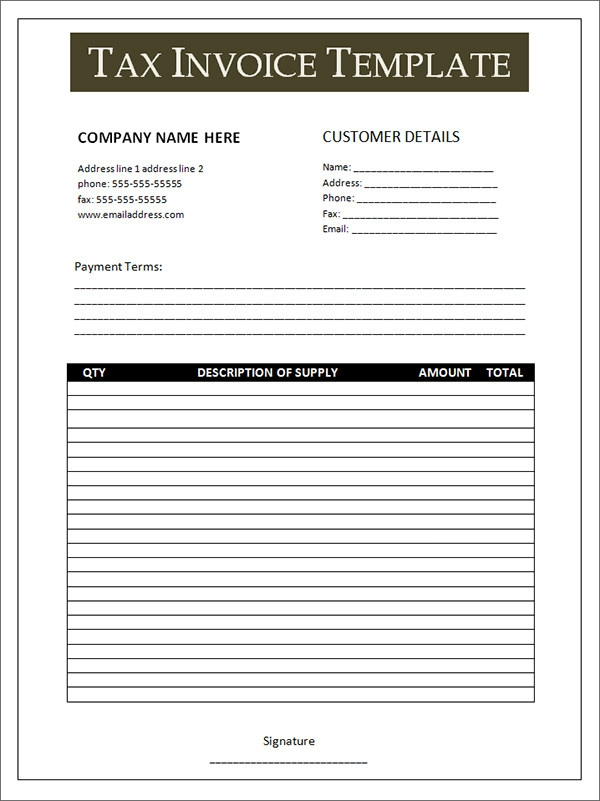 doc.#600758: tax invoice template word doc – 10 tax invoice, Invoice templates